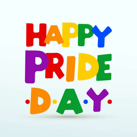 LGBT Happy Pride day modern color lettering. Concept for pride community. Design for flyer, card, banner, poster, web. Hand drawn vector illustration. Isolated on white background.