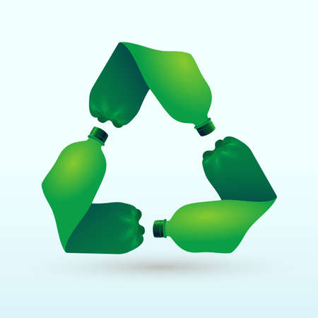 Recycle plastic bottle. Pet recycling eco icon. Flat design recycle icon page symbol for your website,  app, UI. Vector illustration. Isolated on white background. Illustration