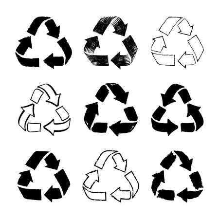 Set of doodle recycle reuse symbol. Sketch recycle sign for ecological design zero waste lifestyle. Hand drawn black icon. Vector illustration. Isolated on white background.