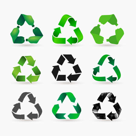 Set of green pet plastic bottles form mobius loop or recycling symbol with arrows. Eco icons pet use concept. Vector illustration. Isolated on white background.