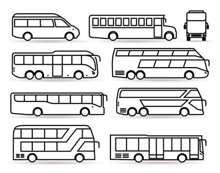 Big set of bus icon. Transport symbol black in linear style. Vector illustration. Isolated on white background. Illustration