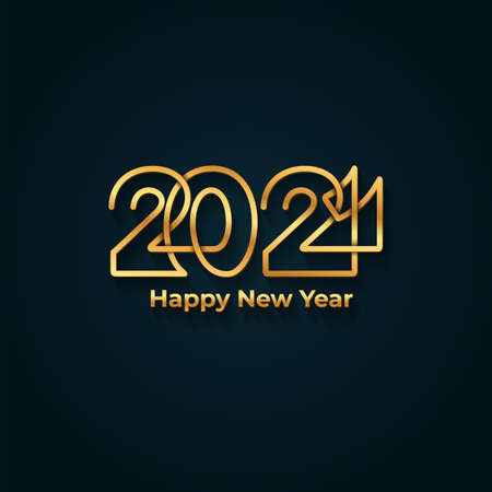Happy New Year 2021 banner. Golden luxury text, gold glowing numbers. Vector illustration. Isolated on blue background.