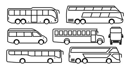 Set of Bus icon. Transport symbol black in linear style. Vector illustration. Isolated on white background. Illustration