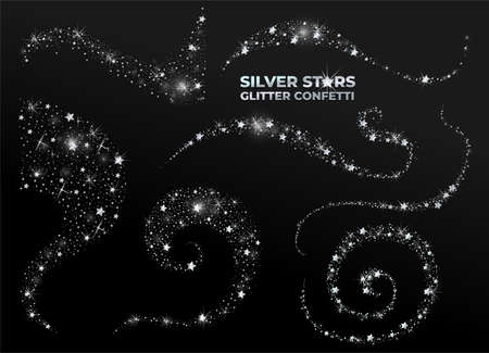 Set of silver star glitter confetti. Vector abstract graphic design. New Year Christmas. Silver glitter background. Elegant invitation template. Vector illustration. Isolated on black background.