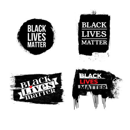 Black Lives Matter. Set of vector illustration protest banner, poster and t-shirt about human right of black people in US. America. Isolated on white background.