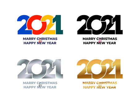 2021 Happy New Year. Set of gray symbol metallic, gold, colored, black and white color flat design. Template for web and print banner, gift card. Vector illustration. Isolated on white background. Illustration