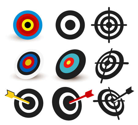 Set of Business aim icon. Colored, black and white targeting icon vector illustration. Isolated on white background.