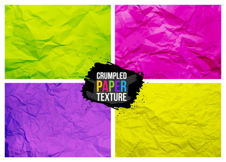 Set of crumpled paper texture. Realistic wrinkled sheet. Colored crumpled paper abstract background texture. Vector illustration. Isolated on white background.