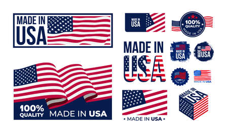 Set of Made in USA badges. Patriot proud label stamp, American flag and national independence day 4th july badges. Vector illustration. Isolated on white background.