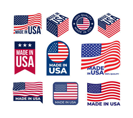 Set of Made in USA  label. US icon with flags of the United States of America for packaging products. Vector illustration. Isolated on white background.