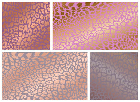 Set of rose gold leopard texture pattern design. Stylised spotted leopard skin background for fabric, print, poster, t-short, fashion, wallpaper. Vector illustration. Isolated on white background. Illustration