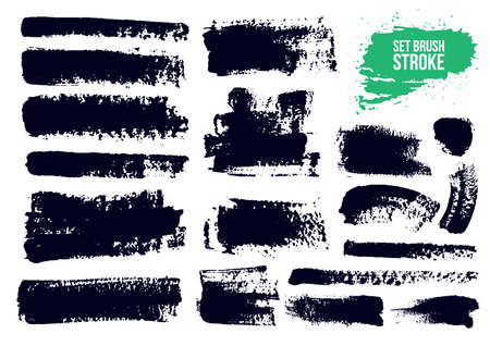 Brush strokes text boxes set. Paintbrush grunge design elements. Dirty artistic design elements, boxes, frames. Ink splatters. Painted objects. Vector illustration. Isolated on white background.
