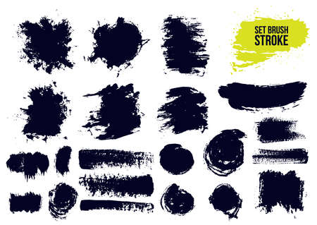 Set of brush strokes text boxes. Paintbrush grunge design elements. Dirty artistic design elements, boxes, frames. Ink splatters. Painted objects. Vector illustration. Isolated on white background