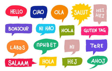 Set of different languages. Hola, hello, hi, guten tag, ni hao, salaam, salut, bonjour. Translation concept. Hand drawn colored icon. Vector illustration. Isolated on white background.