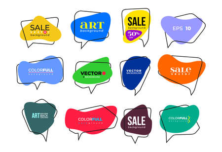 Big Set of flat colorful, black and white speech bubble shaped banners, price tags, stickers, posters, badges. Vector illustration. Isolated on white background.