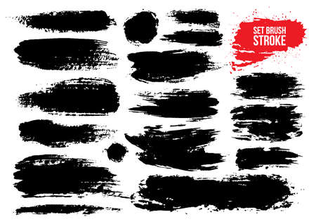 Brush strokes text boxes set. Paintbrush grunge design elements. Dirty artistic design elements, boxes, frames. Ink splatters. Painted objects. Vector illustration isolated on white background.