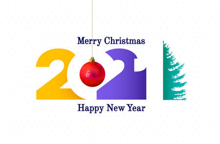 2021 Happy New Year sign. Happy New Year symbol with christmas tree. 2021 greeting card artwork, brochure template. Vector illustration with colored holiday labels isolated on white background. Stock Illustratie