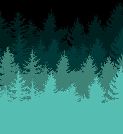 Elegant design pattern with fir trees, vector elements. Forest pattern for invitations, gift wrap, cards, print, textile, fabric, wallpapers, manufacturing. Nature theme. Isolated on black background.