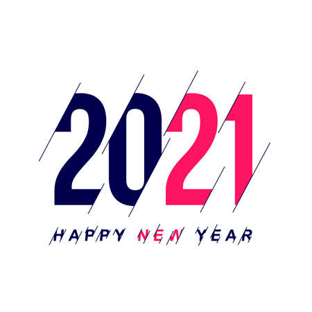 Happy new year 2021 template. Design for banner, greeting cards, poster, brochure or print. Vector illustration. Isolated on white background.