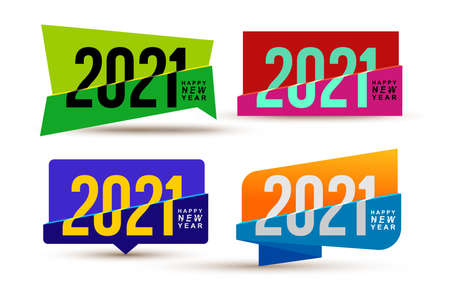 Set of Happy New Year 2021  colored text design. Cover of business diary for 2021 with wishes. Christmas brochure design template calendar, card, banner. Isolated holiday vector illustration.