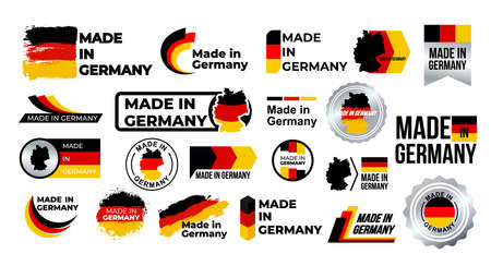 Made in Germany. Big set of label, stickers, pointer, badge, symbol and page curl with German flag icon on design element. Collection vector illustration. Isolated on white background. Stock Illustratie