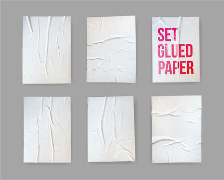Set of glued paper wrinkled effect. Badly wet glued paper or gray adhesive foil with crumpled and creased wrinkled texture. Realistic background. Vector illustration. Isolated on white background.