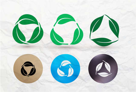 Set of biodegradable recyclable plastic free package icon. Bio recyclable degradable and recycle leaves label   template. Vector illustration. Isolated on texture crumpled paper background.