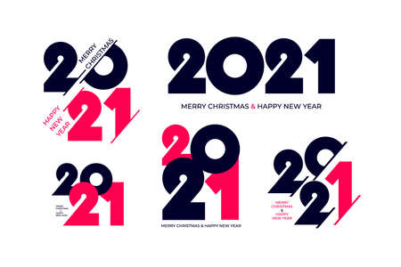 Set of 2021 Happy New Year signs. Collection of 2021 number design template. Vector illustration with dark blue holiday labels isolated on white background.