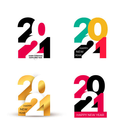 Set of Happy New Year design of colored 2021 numbers. Typography logo for 2021 save the date luxury designs and new year celebration invite. Isolated on white background. Vector illustration.