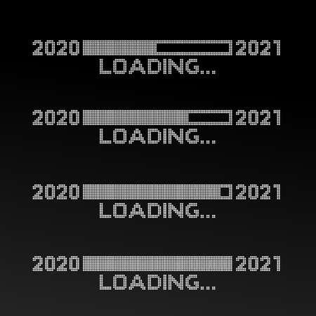 Set of pixelated progress bar year 2020 to 2021 loading. Vector illustration. Isolated on black background.