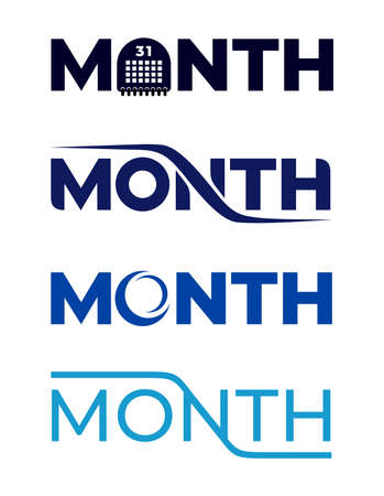 Set of month  perfect for icon. Typography vector illustration. Isolated on white background.