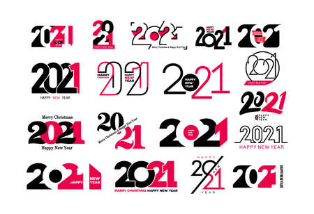 Big set of 2021 Happy New Year signs. Collection of 2021 Happy New Year symbols. Greeting card artwork, brochure template. Vector illustration with black holiday labels isolated on white background.