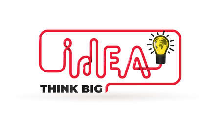 Idea quote with light bulb. Slogan text Think big. Logo design concept of big ideas inspiration innovation, invention, effective thinking. Vector illustration. Isolated on blue background. Stock Illustratie