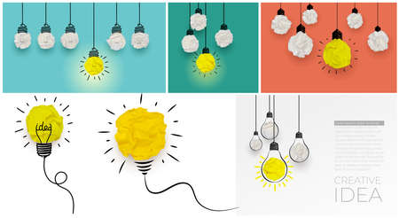 Set of concept creative idea hanging light bulbs with glowing one different idea on light blue, green, terracotta background. Minimal concept idea and innovation with paper ball. Vector illustration.