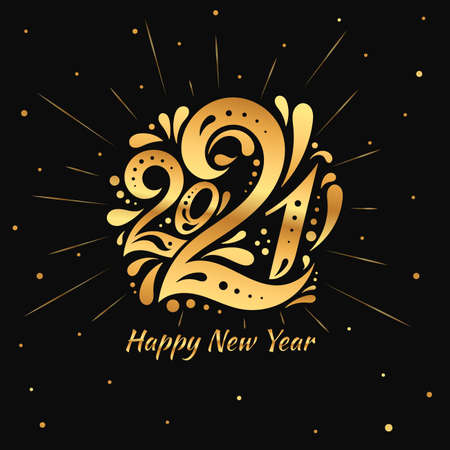 Happy New Year 2021. The golden  number 2021 in with curls. Template with web banner, poster, card, greeting for social networks and media.