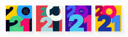 Set of creative concept Happy New Year of 2021 posters. Design templates with typography  for celebration and season decoration. Vector illustration minimalistic trendy for branding, banner, cover Stock Illustratie