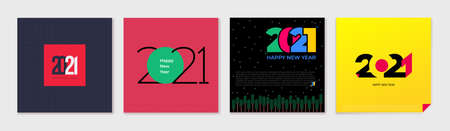Set of creative concept Happy New Year of 2021 posters. Design templates with typography for celebration and season decoration. Vector illustration minimalistic trendy for branding, cover, banner