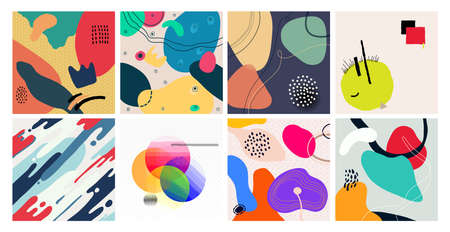 Set of colored abstract cover. Hand drawn various shapes and doodle objects. Contemporary modern trendy background. Pastel and rich colors. Vector illustration isolated on white background. Stock Illustratie