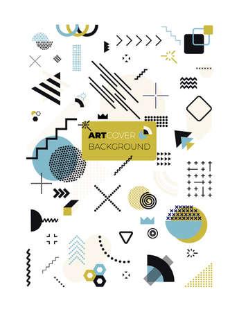 Set of geometric memphis design, minimal seamless texture. Cool futuristic cover modern flat bauhaus. Textile vintage element design, retro memphis. Vector illustration isolated on white background.