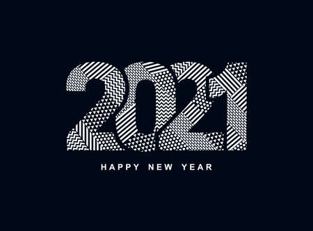 2021 Happy New Year logo text design. Greeting card with inscription 2021 for your layout flyers and greetings card or christmas themed invitations. Vector Illustration. Isolated on black background.