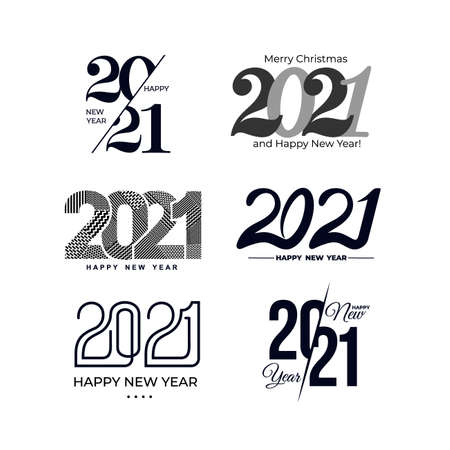 Big Set of 2021 text design pattern. Collection of  2021 Happy New Year and happy holidays. Minimalist templates with typography for celebration. Vector illustration. Isolated on white background. Stock Illustratie