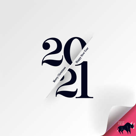 2021 Merry Christmas and Happy New Year greeting card. Logo numbers black 2021 and text on light background. Bend a sheet of paper, under it is the symbol of the year of the bull. Vector Illustration.