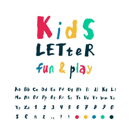 Kids playful style font design. Childish alphabet letters, signs and symbols, numbers. Hand drawn alphabet. Colored and dark blue vector illustration. Isolated vector illustration.