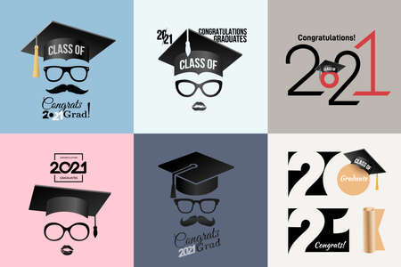 Congratulations graduates Class of 2021 badge. Typography logo design. Set of Concept for print, shirt, overlay or stamp, seal, greeting, invitation card. Design vector with hut and text congrats grad Stock Illustratie