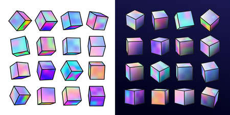 Set of holographic realistic metal cube. Neon color geometric element in different positions. Collection square with bright colorful gradients. Vector illustration isolated on white, blue background.