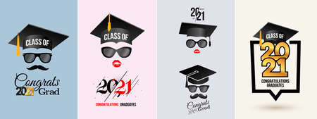 Set of congratulations graduates Class of 2021 badge. Typography  design. Concept for print, shirt, overlay or stamp, seal, greeting, invitation card. Design vector with hut and text congrats grad