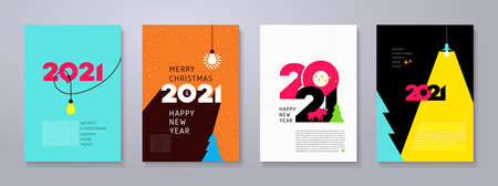 Set of 2021 Happy New Year posters. Creativity inspiration concepts with lightbulb on color background. Business solution, planning ideas. Glowing contents. Minimalist backgrounds for branding, banner.