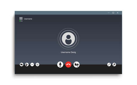 Video chat user interface. Video call icons background. Gray window overlay. Isolated on white background. Vector illustration. Stock Illustratie