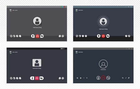 Set of video chat user interface. Video call icons background. Collection gray window overlay. Vector illustration. Isolated on white background.