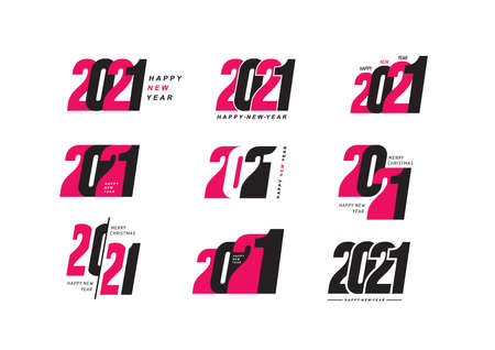 Mega set of 2021 Happy New Year text design. Vector number design template. Greeting card template. Collection of 2021 Christmas symbols for your design. Illustration with black and pink labels.